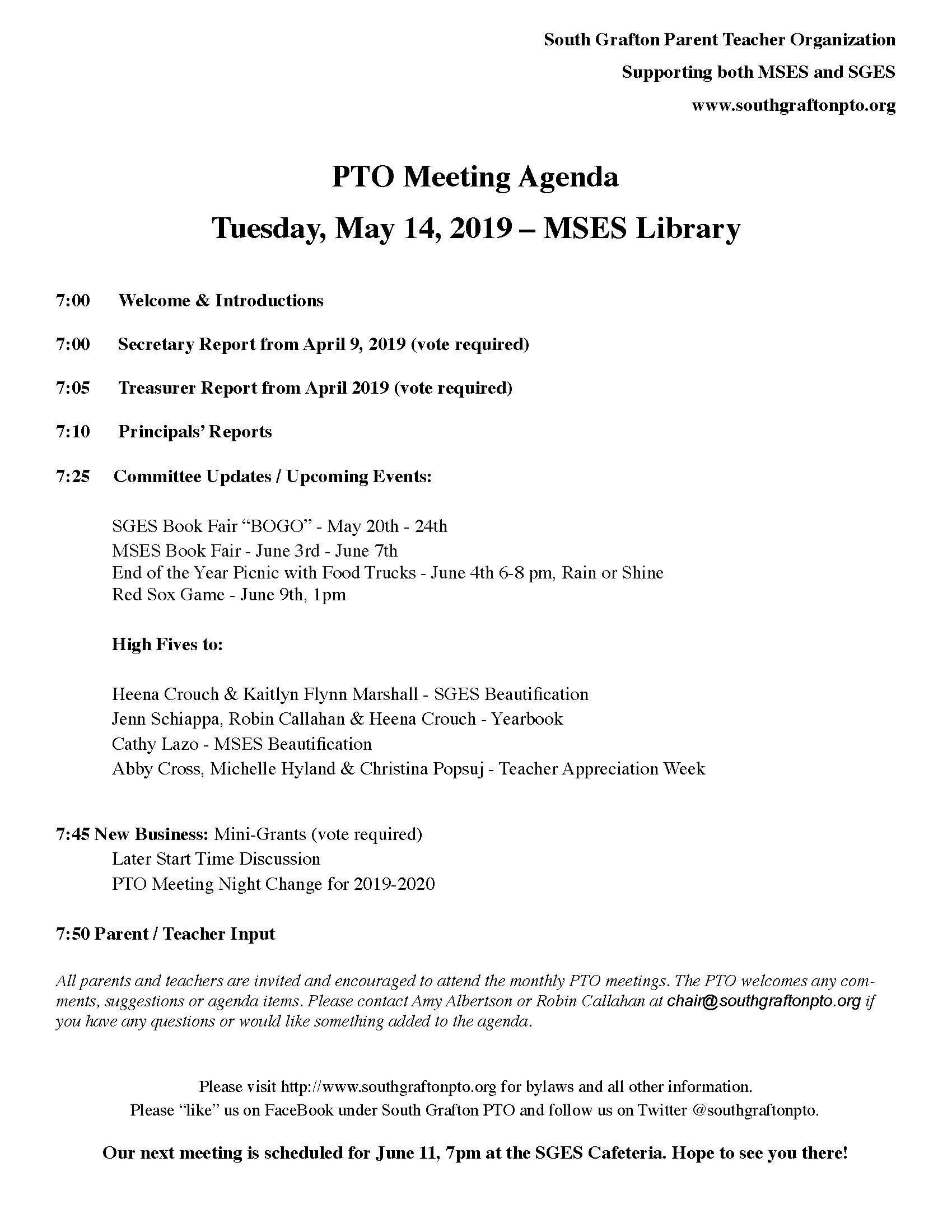 Meetings - South Grafton PTO